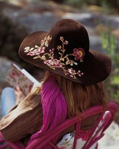 embroidered floral hat