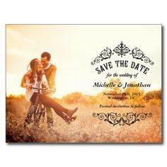 vintage style save the date cards | classic elegant save the date with pretty vintage flourishes black ...