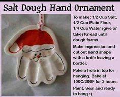 Santa Salt Dough Hand Ornament