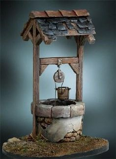 Craft Stick Crafts, Diy And Crafts, Paper Crafts, Clay Art Projects, Diy Projects, Mini Doll House, Christmas Nativity Scene, Water Well, Wishing Well