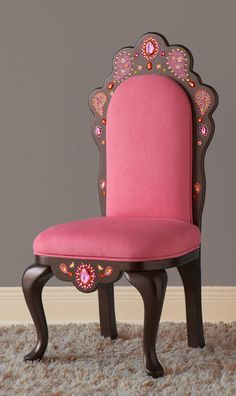 Pink Tiara princess children's chair with Paisley Design by Judio9 on Etsy