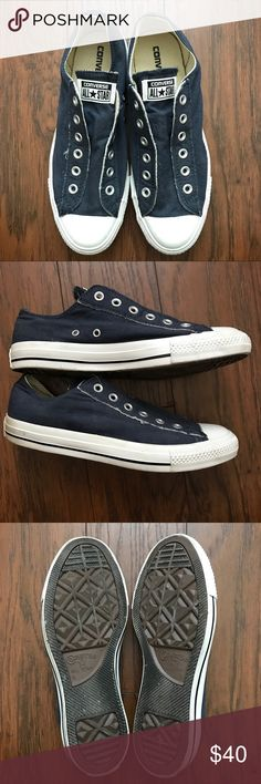 Converse Chuck Taylor All Star Slip Low Top Worn ONLY once.  Navy washed canvas gives it a well-won, lived in look. Vulcanized rubber sole and 100% cotton canvas. Brushed metal eyelets and padded footbed. Converse Shoes Sneakers