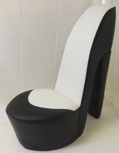 Fabulous Black & cream shoe / high heel / stiletto chair with red sole  BK91