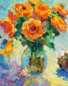 Yellow Roses in Glass Vase oil painting Bertram Poole - Original Fine Art for Sale - © by Bertram Poole