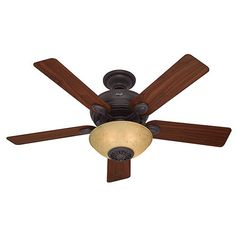Westover New Bronze Three Light 52 Inch Ceiling Fan And Remote Stem Mounted Fan Ceiling F