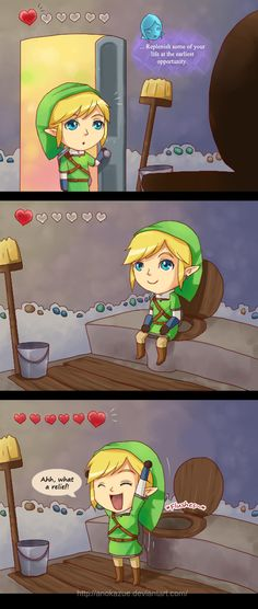 The Legend of Zelda: Skyward Sword, Link and Fi / SS Restroom by anokazue on deviantART