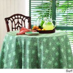 Tommy Bahama Shoreline Indoor/ Outdoor Table Cloth (60 x 102 oblong surf), Green (Polyester, Design)