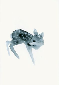 Winter Woodland Fawn Watercolor Print Ghost Fawn by dearcatherina