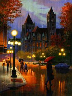 Gothic Architecture Rainy Street DIY Diamond Painting Cross Stitch Of Diamonds Embroidery Mosaic For Home Room Decor Walking In The Rain, Singing In The Rain, Rainy Night, Rainy Days, Winter Gif, I Love Rain, Rain Art, Parasols, Umbrellas