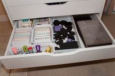 Baskets used inside Alex drawers; Project Life & Sizzix Dies Drawer