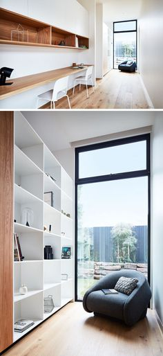 In this modern house a home office (or homework station) has been tucked into a hallway. It has a long wood desk and open wood shelving and next to the window is a small library area with a bookcase. - March 02 2019 at Hallway Office, Home Office Desks, Office Shelf, Office Setup, Office Ideas, Office Decor, Building A New Home, Australian Homes, Indoor Outdoor Living