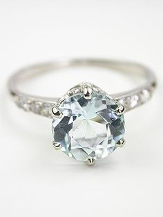 Antique Aquamarine Engagement Ring- This ring is perfection