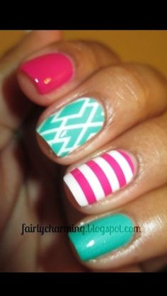 Summer nails - Love these colors together cure