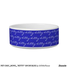 """PET CHIC_BOWL_""""KITTY"""" ON DK BLUE CAT WATER BOWLS"""