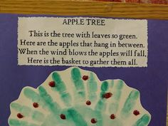 Poem used for the hand and footprint apple tree!!