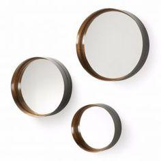 Spiegel Wilson set van 3 metaal/goud