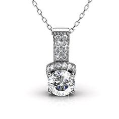 """Cate & Chloe Laya Ruler 18k White Gold Swarovski Pendant Necklace, Best Silver Halo Necklace for Women, Girls, Ladies, Special-Occasion-Jewelry, Pave Round-Cut Swarovski Crystals 18"""" Chain Necklaces"""