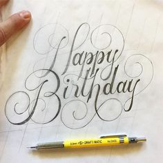 Happy birthday hand lettering - typography and handlettering Calligraphy Handwriting, Calligraphy Letters, Modern Calligraphy, Penmanship, Hand Lettering Alphabet, Brush Lettering, Happy Birthday Hand Lettering, Happy Birthday Calligraphy, Happy Birthday Font