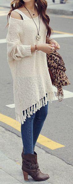 Fringe Knit Sweater #fall #fashion