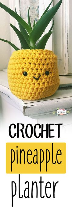 Crochet this easy Pineapple Planter in about half an hour! It's such a sweet summer project and makes a great gift. stitch, picture, amigurumi, kawaii