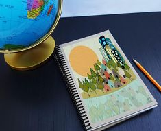 Artist Shanni Welsh's Cityscape writing sketchbook. Journal. Spiral notebook. Urban Cityscape décor. Cityscape art print. Cute gift for writers. Customizable.