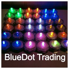 Love the yummy Rainbow colors of the submersible LED tea lights. :) http://www.bluedottrading.com/led-tea-lights/submersible-led-tea-lights.html