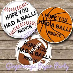 PRINTABLE  - Sports Favor Tag - Sports Birthday Party - Basketball -Football -Baseball