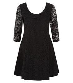 Mandi Black Floral Lace Skater Dress
