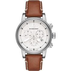 Burberry 42mm Round Stainless Steel Chronograph Watch with Leather... ($735) ❤ liked on Polyvore featuring jewelry, watches, accessories, tan, burberry, buckle watches, water resistant watches, white dial watches and stainless steel wrist watch