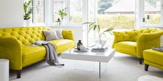 Yellow Leather Chesterfield Sofa Set