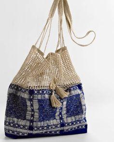 Fabric bag with #crochet trim | Stoffen tas met een gehaakte rand