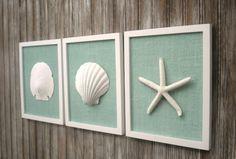 LARGE Wall Art 8 3/4 x 10 3/4 Inch Cottage Chic Set of Beach Wall Art, Home Decor, Wall Art, Coastal Art, Pure WHITE & Sea Glass BLUE Burlap