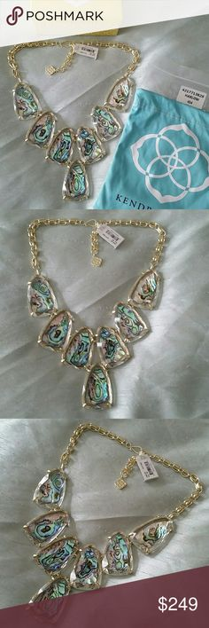 Kendra Scott Abalone Suspended necklace Brand new with tag attached, Authentic Kendra Scott Gold Suspended Abalone statement necklace. Purchased myself from Nordstrom. Will be shipped carefully with everything pictured & bubble wrapped. It's absolutely gorgeous,  sorry no trades on this one. Price is firm, but will consider bundled offers. Thank you! Kendra Scott Jewelry Necklaces