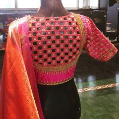 Checked cut work blouse with antique beads and stones - in a pretty pink silk to match this orange kancheevaram.  bridal  weddingseason  pinkblouse  bringsexyback  embellished  ethnic  kancheevaram  24 November 2016
