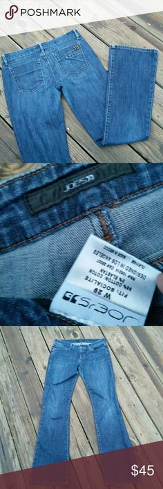 """JOE'S 'SOCIALITE' JEANS JOE'S 'SOCIALITE' jeans.  98% cotton & 2% elastane. Hole on the back, bottom pant leg in picture #4. 29"""" waist. 8"""" rise. 35"""" inseam.  10"""" ankle opening. Joe's Jeans Jeans Flare & Wide Leg"""