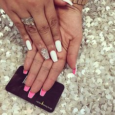 White Bling / Pink Bottoms Nail Art