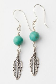 Petite Cherokee Feather Earrings – Smooth Turquoise