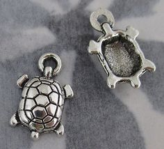 casted pewter turtle charms 12x9mm - f2734