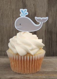 Whale Birthday Party - Set of 12 Whale Cupcake Toppers by The Birthday House via Etsy
