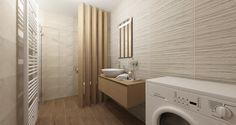 Máte rádi dřevo jako zákazník z Přerova? Přijemná koupelna s dostatečným úložným prostorem a intimním předělem s WC.