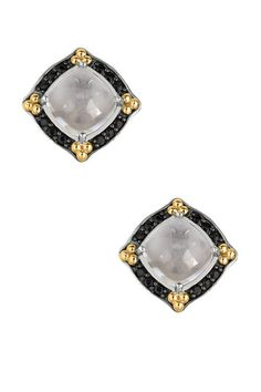 Crystal & Black Sapphire Trimmed Earrings