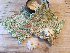 Cotton Potholder, Crochet Potholder, Mint Potholder, Hot Pad, Ready to Ship, Multi color Potholder, Double Thick, Eco Friendly, by CraftCreationsbyRose on Etsy