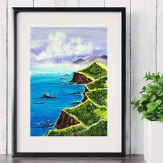 Beautiful watercolor landscape print