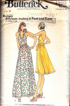 Love the Vintage Betsey Johnson look as she ventured into making patterns for Butterick called Alley Cat. Evening Dress Patterns, Kids Dress Patterns, Wedding Dress Patterns, Clothing Patterns, Retro Pattern, Vintage Sewing Patterns, Sewing Ideas, Sewing Projects, Vintage Outfits