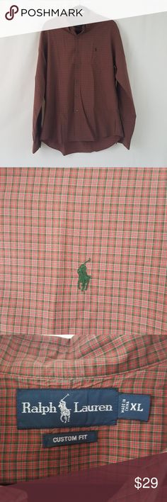 """Mens  XL Polo Ralph Lauren Red Plaid Shirt Polo Ralph Lauren Mens XL Custom Fit Long Sleeve Button Up Button Down Collar Armpit to armpit approx 26"""" Can be worn casual or dressy Business, Career, Office Work Casual   N Polo by Ralph Lauren Shirts Dress Shirts"""