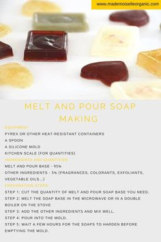 Melt and Pour Soap Making (And Recipes) - Mademoiselle Organic - Organic & DIY Beauty Cinnamon Essential Oil, Organic Essential Oils, Soap Making Recipes, Soap Recipes, Vanilla Oil, Soap Melt And Pour, Soap Base, Oils For Skin, Diy Skin Care
