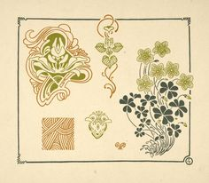 M.P. Verneuil (French, 1869-1942). Abstract design based on grasses and leaves. ca. 1900.