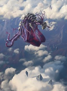 Chase Stone designed Eldrazi Skyspawner for the Magic: The Gathering card game. Fantasy Monster, Monster Art, Fantasy Concept Art, Dark Fantasy, Arte Horror, Horror Art, Magic The Gathering, Fantasy Creatures, Mythical Creatures