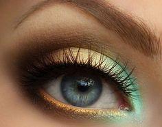 Green and gold smokey eyes.