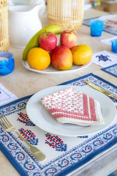 Lively hand-blocked floral prints in vivid shades of red and blue decorate our this festive collection, bordered with an intricate paisley border in the same colors. Made of cotton, this table runner sets the table with energetic charm. Block Table, Shades Of Red, Table Linens, Pomegranate, Table Runners, Tabletop, Red And Blue, Festive, Paisley